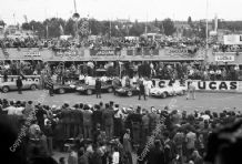 Jaguar D Types lined up before the start Le Mans 1955